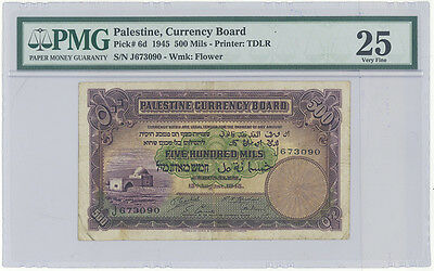 Palestine Currency Board 500 mils dated 1945  Pick# 6d,PMG 25 VF- Rare Key Note