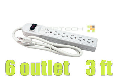 New 6 Outlet Power Strip Bar Surge Protector 3 ft feet Cord