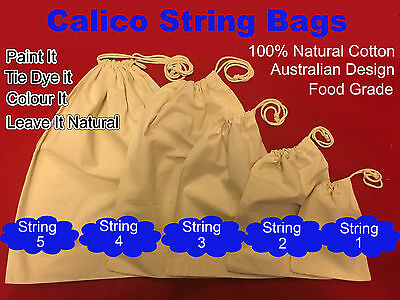 Calico Bag Bulk Drawstring Calico Bags Cotton Tote Bag Pkts: 30 , 50, 100