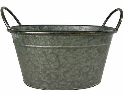 Great Finds Galvanized Tin Oval Tub with Handles