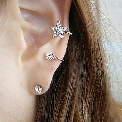 crystal star Punk Rock Earring Chain Ear Cuff Wrap Clip biker UK rhinestone stud