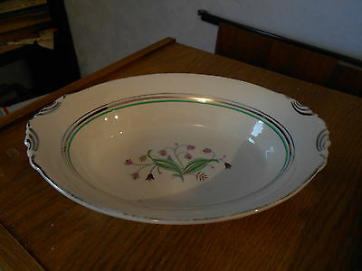 "Syracuse Coralbel Platinum Trim 10 1/4"" Oval Serving Bowl"