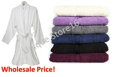Mens Women 100%Cotton Terry Towelling Bathrobe Dressing SPA Gown EXTRA ABSORBENT