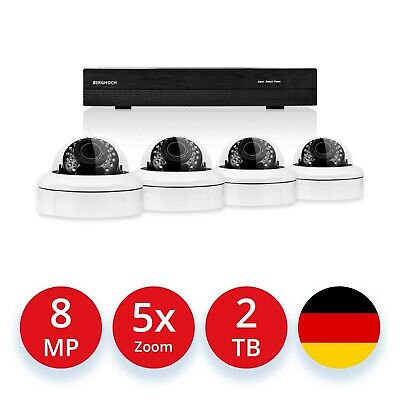 Videoüberwachung Set 5 MP Super HD POE 4x Dome Kameras + 2000 GB Festplatte