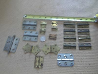 vintage small hinge lot. two are brass