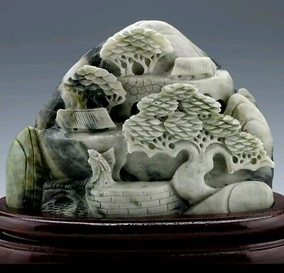 5.027 Lbs 100% Natural Dushan Jade Hand-carved Old Man & Pine Tree Big Statue