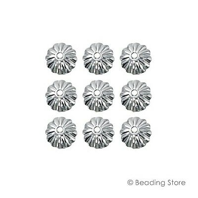 6 or 50 925 Serling Silver Bead Caps 7mm Flower Fluted Cap 1.2mm Hole Findings