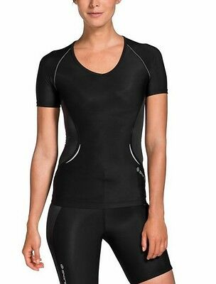 SKINS A400 WOMENS Ladies Short Sleeve V Neck Compression Top A Shape New
