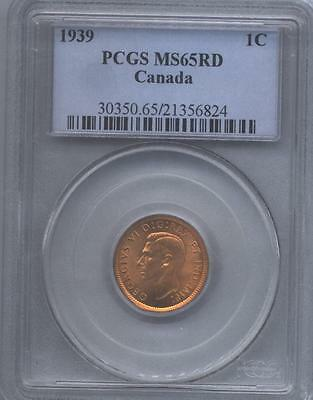 1939 Canadian Small Cent,  PCGS-  MS 65 Red