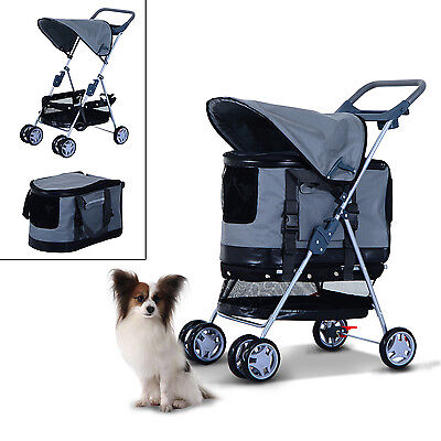 PawHut Pet Stroller Puppy Detachable Carrier Travel  Cover Dog Trolley 2in1