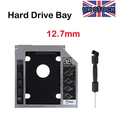 UK 12.7MM 2nd SATA to SATA HDD SSD Hard Drive Optical DVD Bay Caddy for Laptops
