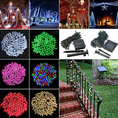 AU 100/200/300/400/500 LED Solar Fairy String Lights Indoor Outdoor Xmas Party