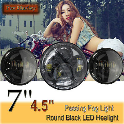 For Harley 7'' Black Projector Daymaker Headlight LED + 2x 4.5'' Passing Lights