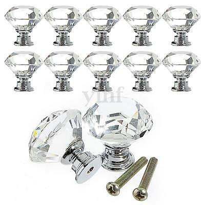 10x 30mm Clear Crystal Door Knobs Drawer Furniture Cabinet Glass Handle Screws