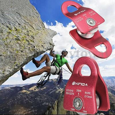 20KN General Purpose Mobile Pulley for Rock Climbing 13mm Rope Gear Tool