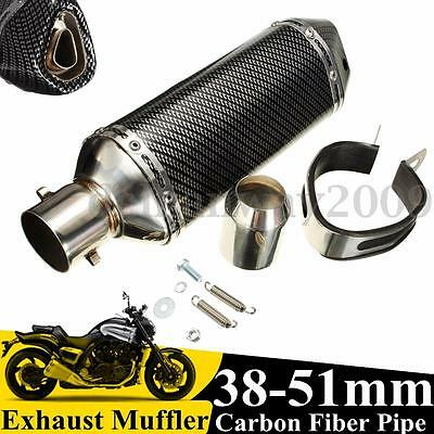 38-51mm Motorcycle Bike Carbon Fiber Exhaust Muffler Pipe Removable Silencer