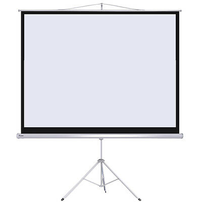 "Instahibit™ 100"" Tripod Projector Screen Pull Down Projection 4:3 Home Theater"
