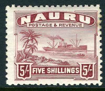 NAURU-1924-48 5/- Claret.  A lightly mounted mint example Sg 38a