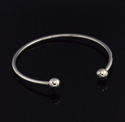 Fashion Silver Bangle Bracelet Fit 925 European Charms Bead Round Clasp