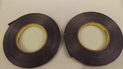 """(2) Rolls 3M Strapping tape - 1/2"""" x 120 yards - black, stensilized"""