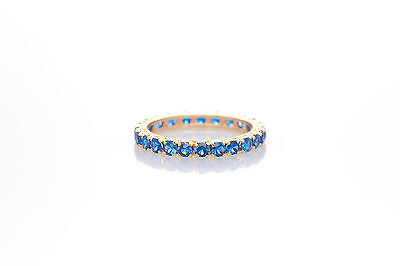 Antique 1940s 3ct Blue Sapphire 14k Yellow Gold Eternity Band Ring SZ 6.5
