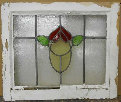 """OLD ENGLISH LEADED STAINED GLASS WINDOW Abstract Floral 20"""" x 16.75"""""""