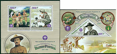 Scouts Baden-Powell Scouting Ivory Coast MNH stamp set 2val + s/s