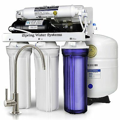 iSpring 5-Stage 75GPD Reverse Osmosis Water Filter System w Booster Pump #RCC7P