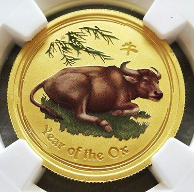 2009 P Gold Australia 365 Minted $50 Lunar Year Ox Colorized Ngc Mint State 69