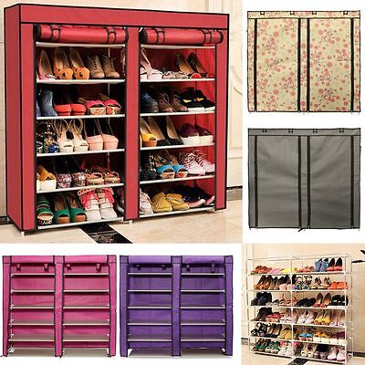 Double 7 Tier Shoe Rack 36 Pairs Shoes Cabinet Stand Storage Organizer Dustproof