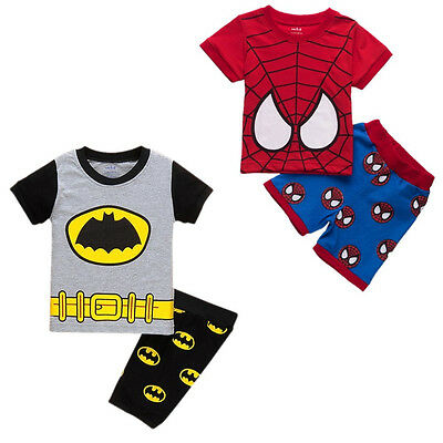 Kids Baby Boys Summer Spiderman Batman Tops T-shirt Shorts Outfits Clothes 1-7Y
