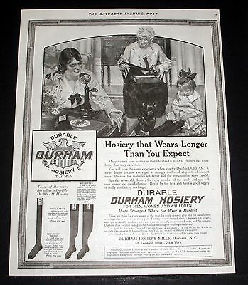 1919 Old Magazine Print Ad, Durham Durable Hoisery Wears Longer Than You Expect!