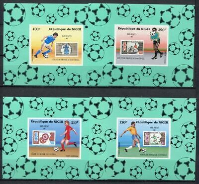 s6109) NIGER 1986 MNH** WC Football'86 - CM Calcio S/Sx4 SPECIAL EDIT IMPERF