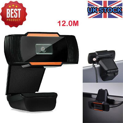 USB 2.0 Clip-on Webcam Camera HD 12 Megapixels with Microphone MIC for Computer