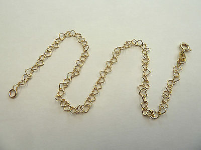 """New 9ct Gold Heart Link 10"""" Anklet 1.9 grams  * Fully Hallmarked *"""