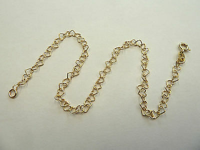 """New 9ct Yellow Gold Heart Link 10"""" Anklet 1.9 grams"""