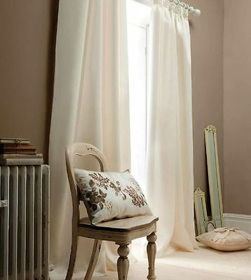 Catherine Lansfield Luxury Pencil Pleat Lined Faux Silk Cream Curtains SUPERSALE