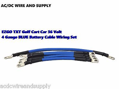 4 Awg HD Golf Cart Battery Cable 5 pc Set BLUE E-Z-GO 94/UP TXT 36V  U.S.A MADE