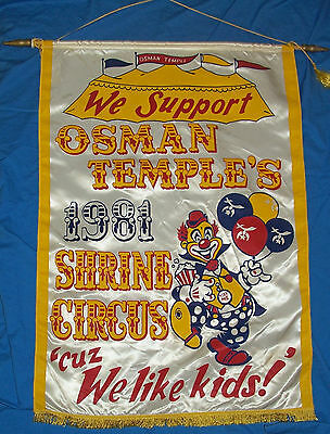Old Shrine Circus Banner Osman Temple Poster Vintage Shriners Clown Sign Satin