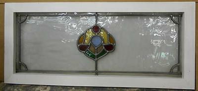 "LARGE OLD ENGLISH LEADED STAINED GLASS WINDOW Symetric Dloral 28.75"" x 12.75"""