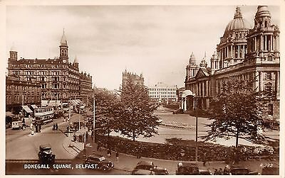 Northern Ireland Postcard Belfast Donegall Square Real photo  H0 042