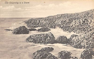 Northern Ireland Postcard Giants Causeway In A Storm E0 047