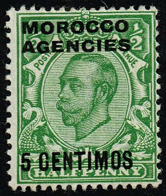 Morocco 1912 5c. on ½d. green, MH (SG#126)