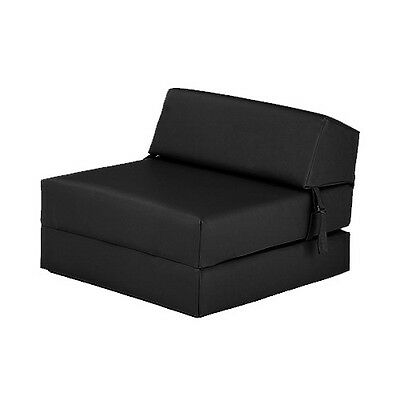 Black Faux Leather Single Chair Z Bed Guest Fold Up Futon Chairbed Mattress Foam