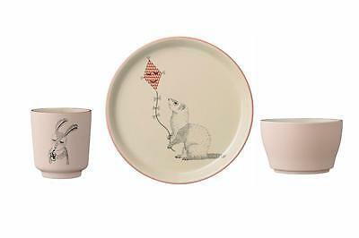 Bloomingville Mollie Collection Childrens Plate Cup and Bowl Set, Pink