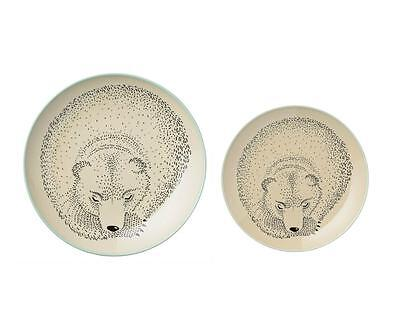 Bloomingville Adelynn Collection Bear Theme Childrens Plate Set