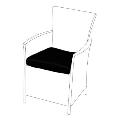 Black 2 Pack of Replacement Dining Chair Cushions to fit Rattan Garden Furniture