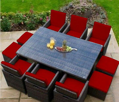 Red 16 Piece Cushion Set for 10 Seater Rattan Garden Furniture Dining Cube