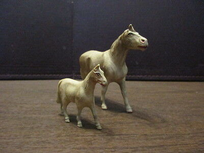 2 Vintage Celluloid Horses - Made in USA - Large & Small