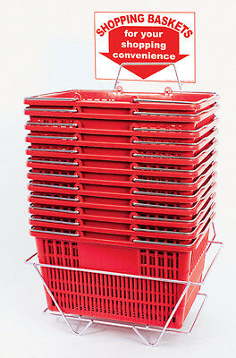 12 Standard Shopping Baskets - Chrome Handles - Metal Stand and Sign - Red